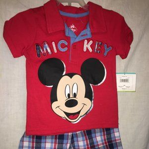 DISNEY BABY NEW SHORT TOP OUTFIT MICKEY SIZE 12 M